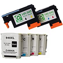 ink yield Remanufactured hp 940 Printhead BK/Y C/M (C4900A C4901A) and Set of 4 Packs Hp940 Inks For Hp Officejet Pro Printers