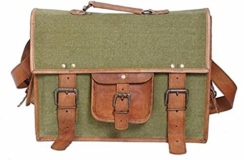 TUZECH Stylish Style Icon Leather Bag Messenger Bag (Green, Brown) Fits Laptop Upto 15 Inch by IN-INDIA