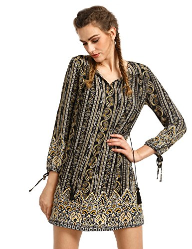 Boho-Chic Vacation & Fall Looks - Standard & Plus Size Styless - OEUVRE Women's Chiffon Floral Printed Bohemian Dress Casual Knee Length Dress Black M