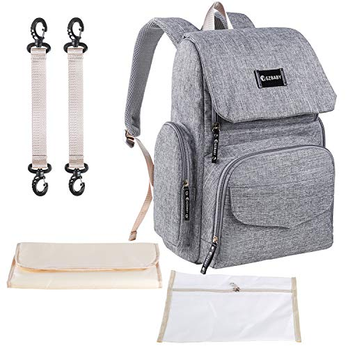 Diaper Bag Backpack Gray Large Capacity Baby Nappy Bag Waterproof Multifunction Travel Casual School Back Pack with Stroller Straps Insulated Pockets