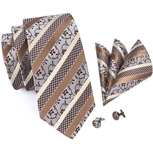 Brown Striped Woven Necktie - Hi-Tie Champagne Stripeds Tie Woven Silk Necktie Pocket Square and Cufflinks Tie Set
