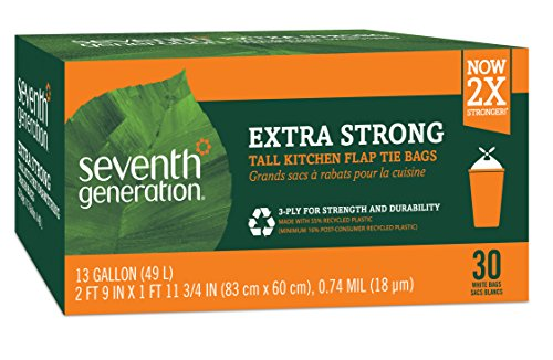 Seventh Generation Tall Kitchen Trash Bags, 13 gal, 30 Bags (Biodegradable Kitchen Trash Bags)
