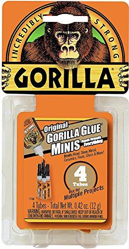 (Gorilla Original Gorilla Glue Minis, Waterproof Polyurethane Glue, Four 3 gram Tubes, Brown)