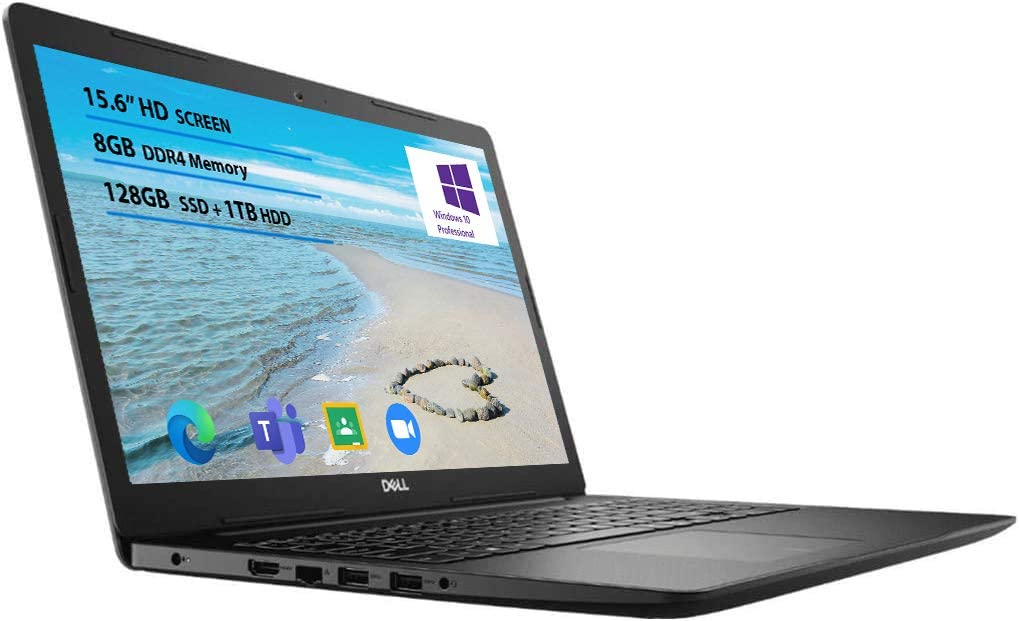 2021 Newest Dell Inspiron 15 3000 Laptop, 15.6 HD Display, Intel Pentium Silver 5030 Processor Windows 10 Pro 8GB RAM, 128GB SSD, 1TB HDD Online Meeting, Business and Student Webcam, Black