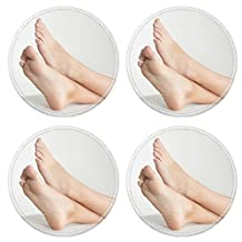 Liili Round Coasters IMAGE ID 12956909 Woman s Bare Feet with her Ankles Crossed and Elevated