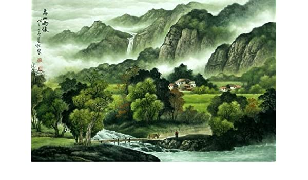 Amazon Com Landscape Original Chinese Ink Brush Artwork