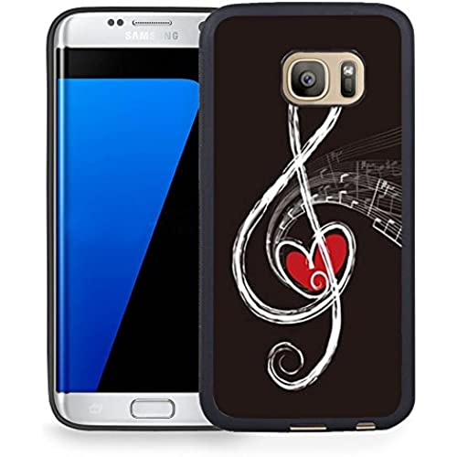 S7 Edge Case Samsung Galaxy S7 Edge Black Cover TPU Rubber Gel - Red Heart and Music Note Sales