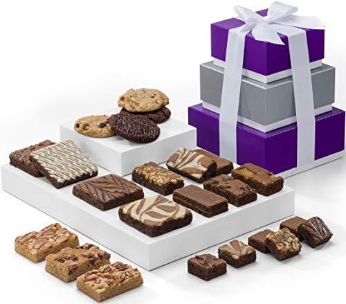 (Fairytale Brownies 3-Box Tower Gourmet Chocolate Food Gift Basket - Assorted Size Brownies Plus Blondie Bars and Cookies - 23 Pieces - Item RF303)