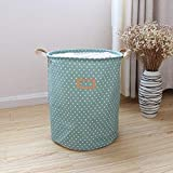 Drawstring Laundry Bakset Storage Bin Home Organizer Folding Large Storage Basket, Perfect Storage Tool for Book Toy Clothes 4 Colors(Green)