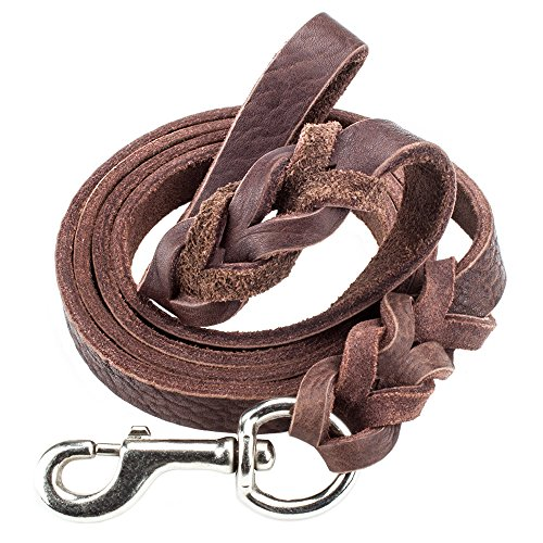 - Weebo Pets 6-foot Braided Soft Latigo Leather Dog Leash for Walking & Training