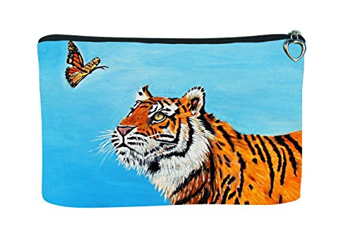 Tiger Cosmetic Bag - Support Wildlife Conservation, Read How - From My Original Painting, Wonder -