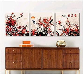 Schon Chinesische Malerei Impressionismus Blumen Öl Gemälde Pflaume Baum Blüten  Landschaft 3 Platten Art Wand Für Wohnzimmer