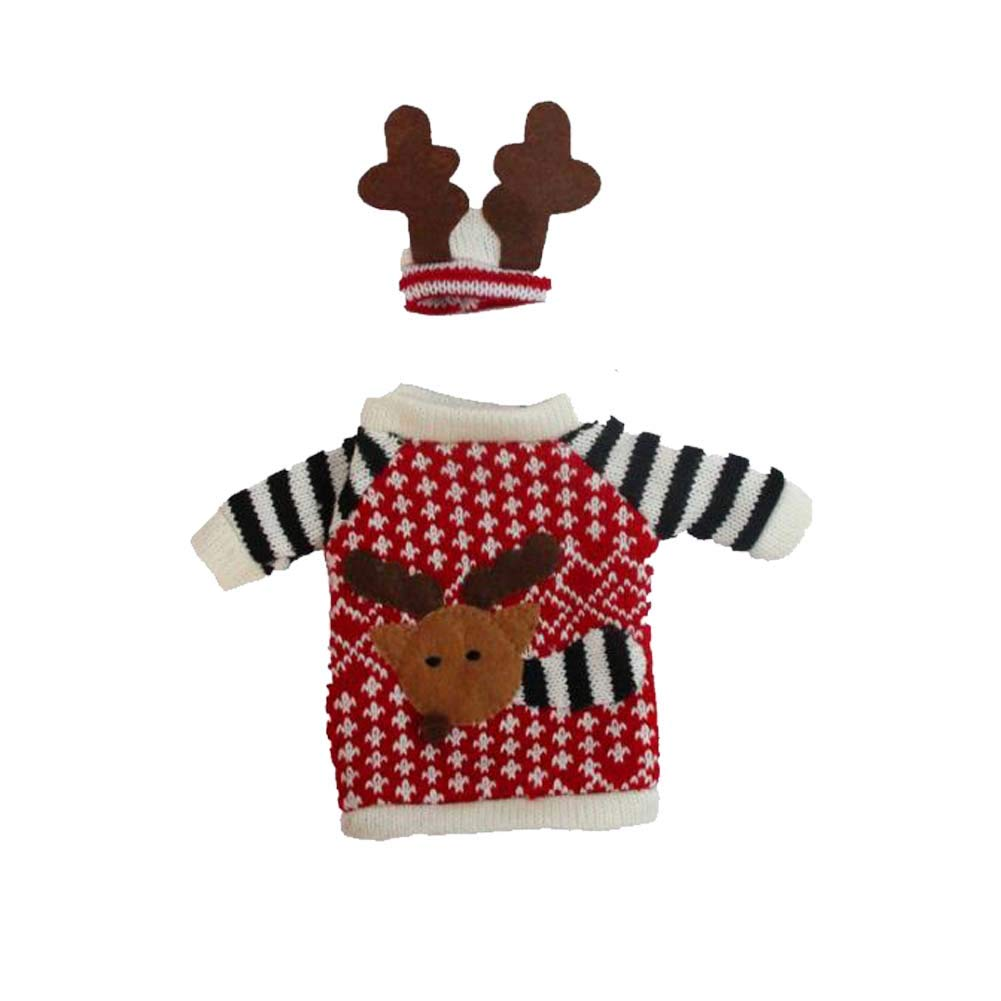 SHENGZ Christmas Reindeer Knitted Sweaters Wine Bottle Covers Dinner Ornament Champagne Table Decorations 3Sets