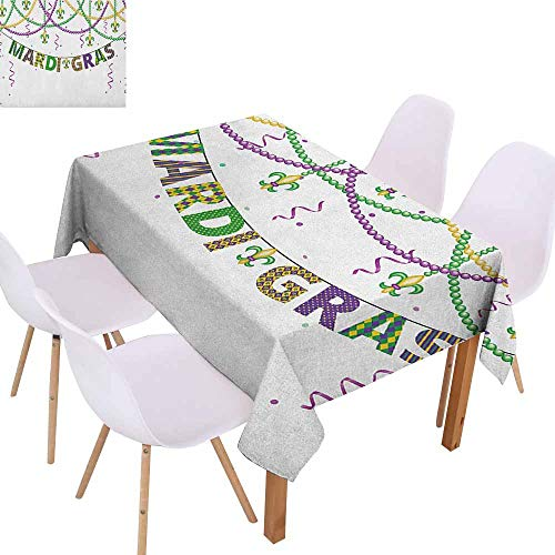 Restaurant Tablecloth Mardi Gras Festive Design with Fleur De Lis Icons Hanging from Colorful Beads Excellent Durability W70 xL102 Purple Green Yellow