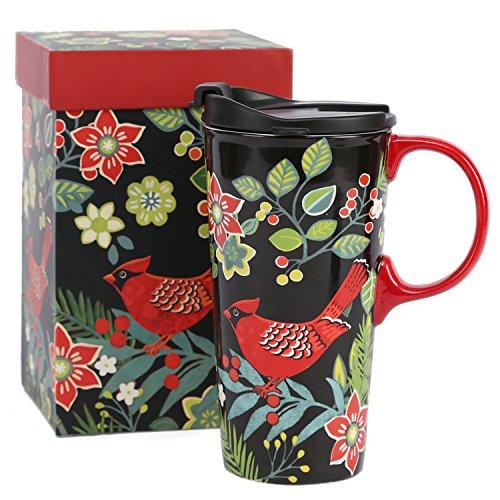 Travel Coffee Ceramic Mug Porcelain Latte Tea Cup With Lid in Gift Box 17oz. Cardinal Bird by CEDAR (Large China Coffee Mug)