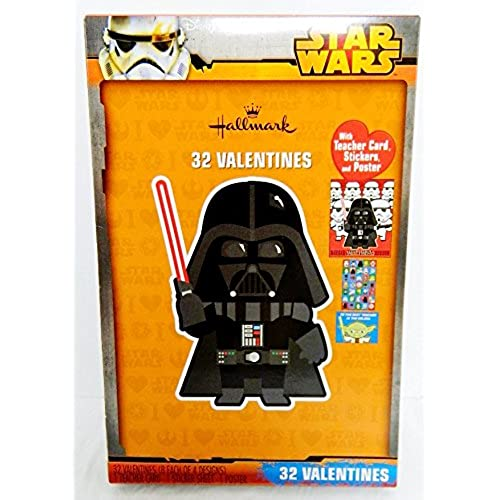 Hallmark STAR WARS 32 Valentines Cards w/ Darth Vader Cover w/ Teacher Card, Stickers, and Poster Sales