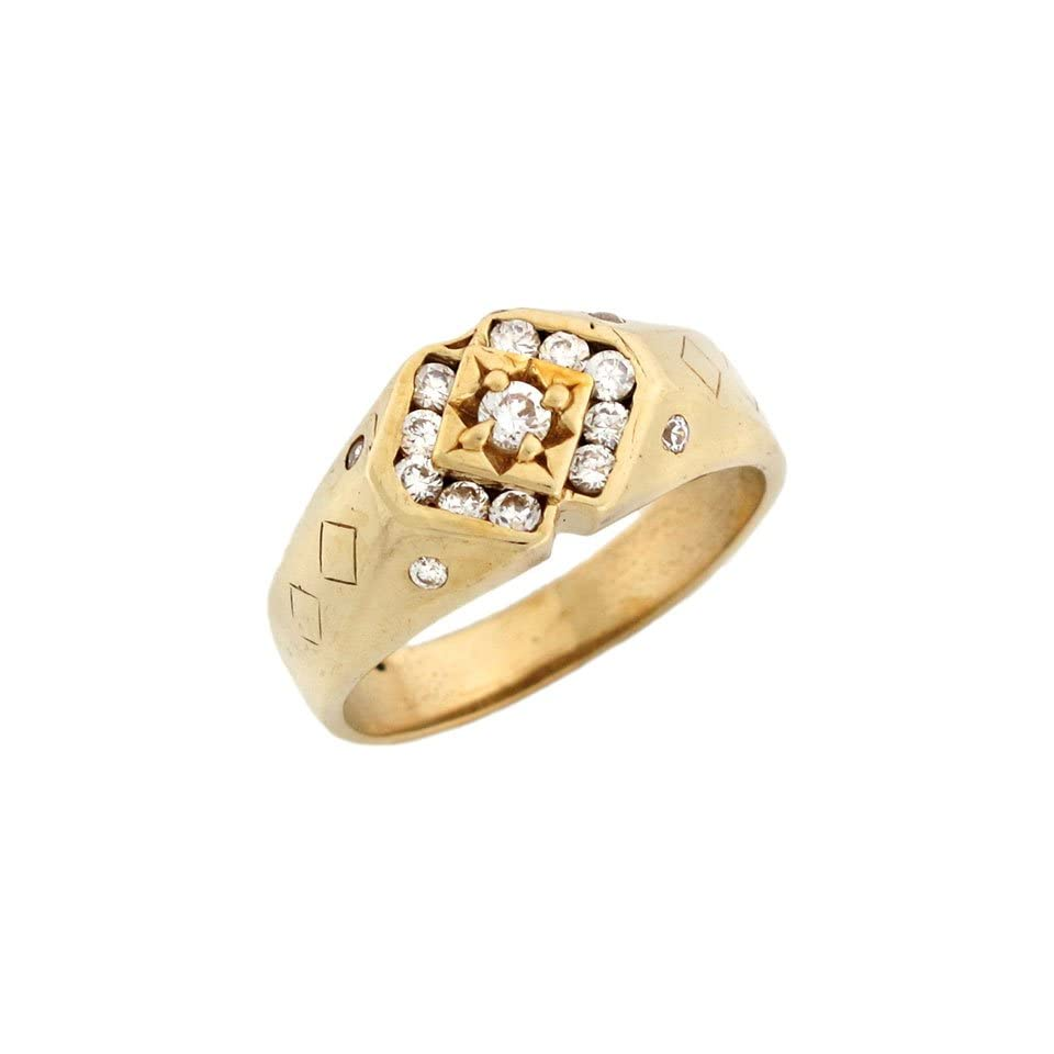 14k Yellow Gold Unique Mens CZ Ring with Accents on Sides