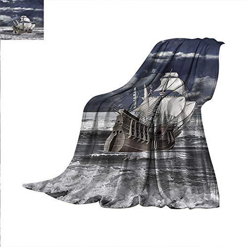 Landscape Digital Printing Blanket Caribbean Pirates Ship Summer Quilt Comforter 70