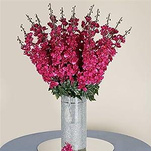 3 Artificial Delphinium Bushes Wedding Vase Centerpiece Decor - Fushia 4