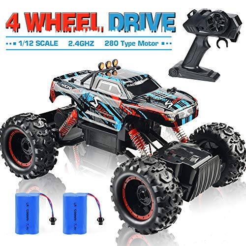 Remote Control Truck, RC Car 1: 12 Scale RC Truck 2.4Ghz Radio Remote Control Car 4WD Off Road for Boys