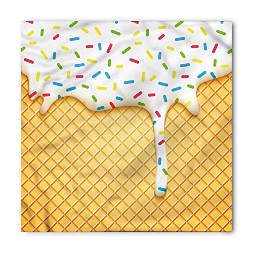 - Ambesonne Food Bandana, Cartoon like Image of and Melting Ice Cream Cones Colored Sprinkles Artistic Print, Printed Unisex Bandana Head and Neck Tie Scarf Headband, 22 X 22 Inches, Multicolor