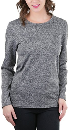 ToBeInStyle Women's Crew Neck Fleece Lined Long Sleeve Thermal Tops (2X, Heather (Gray Thermal Long Sleeve Shirt)