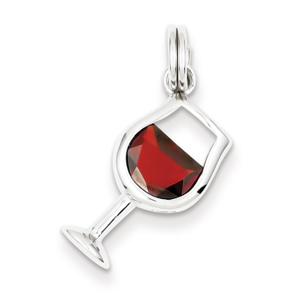 West Coast Jewelry Sterling Silver Red Cubic Zirconia Wine Glass Charm