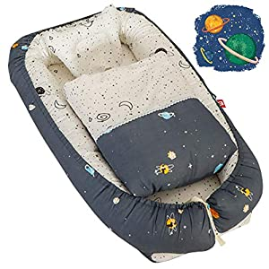 Baby Nest Bed Baby Lounger Newborn Infant Bassinet Co-Sleeping Portable Cribs with Outer Space Printed for Bedroom/Travel Camping, Breathable and Soft