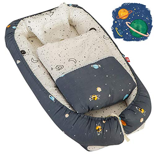 Baby Nest Bed with Quilt & Pillow Baby Lounger Newborn Infant Bassinet for Bed Co-Sleeping Portable Cribs with Outer Space Printed for Bedroom/Travel Camping, Breathable and Soft Cotton