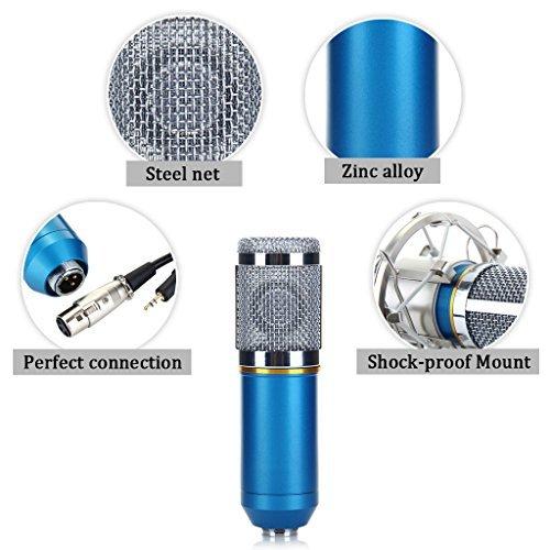 Excelvan Condenser Recording Microphone with Shock Mount Holder, Blue