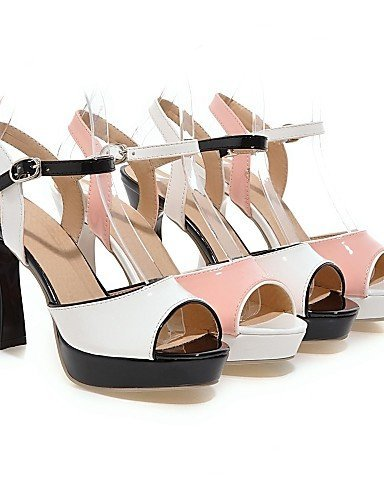 ShangYi Womens Shoes Chunky Heel Peep Toe Sandals Dress Pink / White Pink