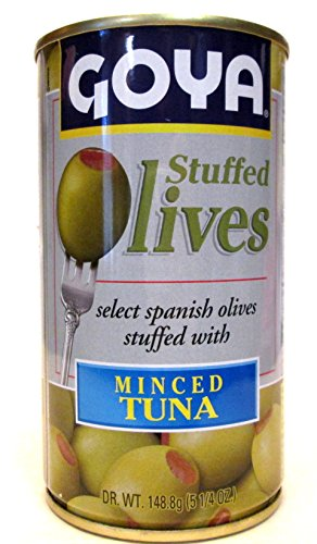 Goya Minced Tuna Stuffed Spanish Olives (Pack of 2) 5.25 oz Cans by Goya