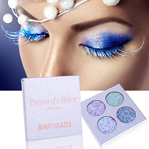 4 Colors Professional Pressed Glitter Shimmer Eyeshadow Palette Diamond Pigments Eye Shadow Makeup Powder Palette Beauty Glzaed