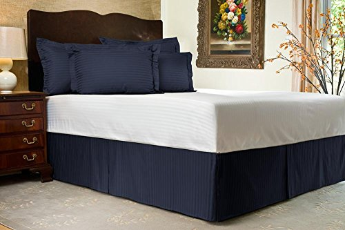 """UPC 889318051368, Luxurious 300 TC Queen Size Bed Skirt in Stripe Navy Blue with 24"""" -100% Egyptian Cotton"""