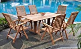 Grade-A Teak Wood Luxurious Dining Set Collections: 7 pc -69″ Warwick Rectangle Table And 6 Ashley Reclining Arm Chairs #TSDSAS4 Review