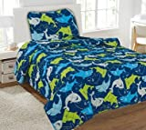 GorgeousHome (#22) SHARKS 2PC Twin Printed Quilt Coverlet Bedspread Pillow Case Bed Bedding Set For Boys