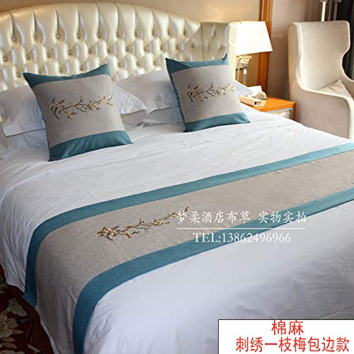 Bed Runner Bed Scarf Hotel Bedding high-Grade Pure Color Hotel Bed end Bed Bed Towel European Bed Flag, Embroidery a Plum Edge, 1.5m Bed (50x210)