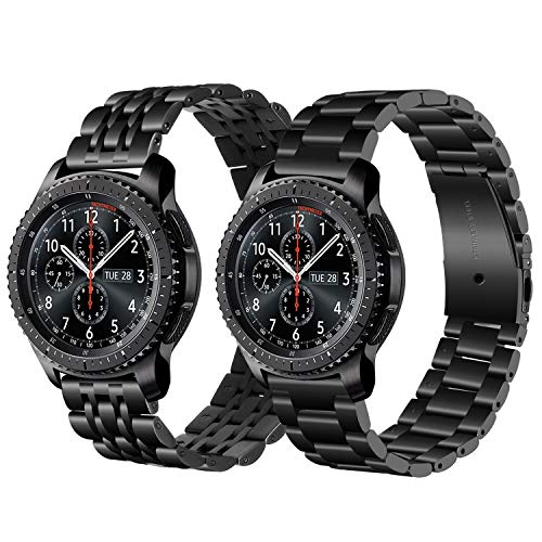 - Gear S3/Galaxy Watch 46mm Bands, iWonow 22mm Quick Release Stainless Steel Watch Band Folding Butterfly Clasp Strap Replacement for Samsung Gear S3 Classic/Frontier, Gear 2 R380/R381/R382, Pebble Time