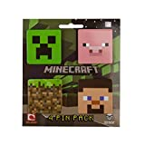 Minecraft 4 Button Pack (Creeper, Pig, Dirt Block, Steve)