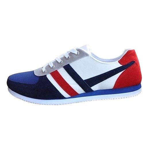 700f356676152 Amazon.com: Men's Lace Up Flat Shoes, Casual Striped Canvas ...