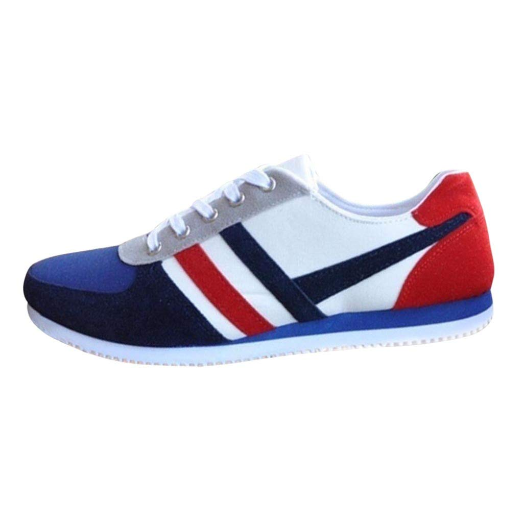 TIFENNY Fashion Student Sport Shoe Men Lace Up Loafers Casual Sneakers Color Block Soft Bottom Flat Canvas Shoes Blue
