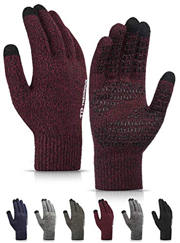 Gloves Women, TRENDOUX Winter Touchscreen Glove Men Unisex Knit - Driving Texting Running - Non-slip Grip - Thermal Lining - Stretchy Material - Hands Warm Typing Working Outdoor - Black Red - XL