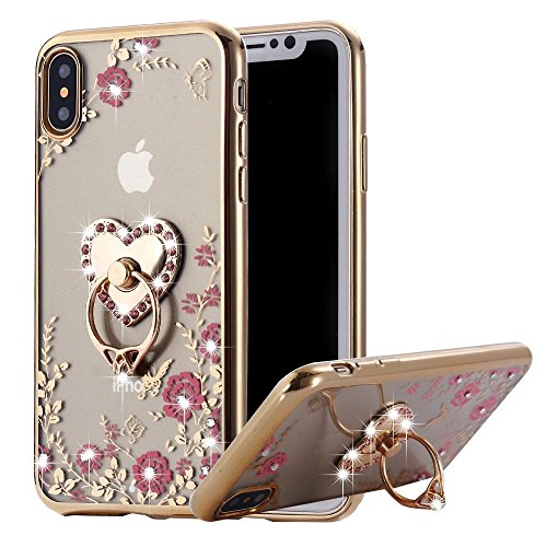 iPhone X Case Ring Holder, Miniko(TM) Soft Slim Bling Rhinestone Floral Crystal TPU Plating Rubber Glitter Case Cover with Detachable 360 Finger Kickstand Bling Ring Holder for iPhone X Gold