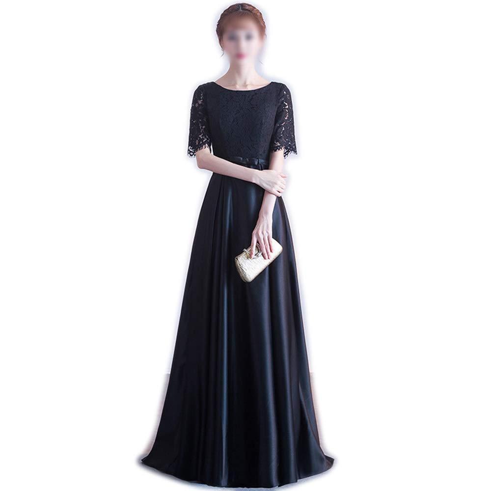 Blackb Kirabon Women Black Lace Short Sleeves Evening Dress Slim Evening Maxi Party Dress (color   Blackb, Size   S)