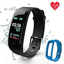 Fitness Tracker,Color Screen Activity Tracker Watch with Blo...