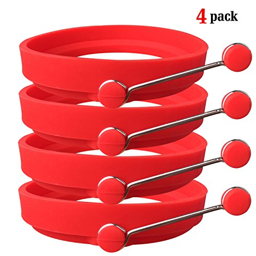 Ozera 4 Pack Nonstick Silicone Egg Ring Pancake Mold, Round Egg Rings Mold, red