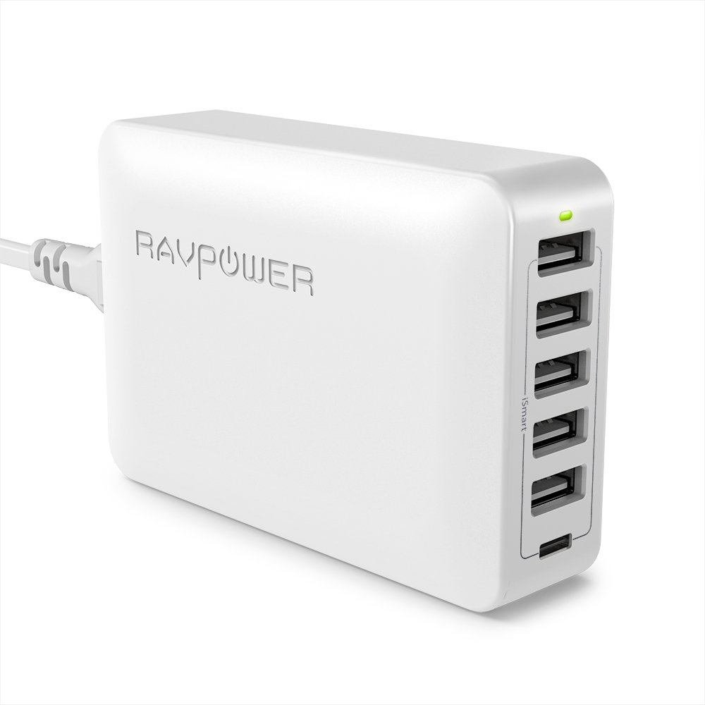 USB Type-C RAVPower Cargador de pared 60  W 6-en-1  con 5  puertos iSmart port y Type-C 5  V 3  A cargador rá pido para MacBook, Galaxy S8/Note8, y salida USB iSmart para iPhone 8/8  Plus/X y Plus RP-PC033(B) FR