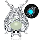 Apotie Sterling Silver Bat Pendant Charms Unique and Unisex Necklace Damon Ghost for Women Girls with Glow in The Dark Long Jewelry Chain 18 Inch
