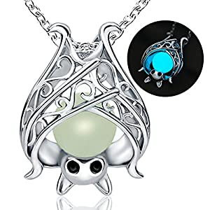 Apotie Sterling Silver Animal Bat Necklace for Women Girls with Glow in The Dark