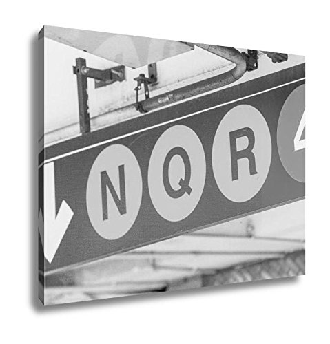 Ashley Canvas New York Subway Signs N Q R 4, Kitchen Bedroom Living Room Art, Black/White 24x30, AG5610697 (Subway/4 Sign Nyc)